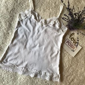 WHBM White Lace-Trimmed Camisole